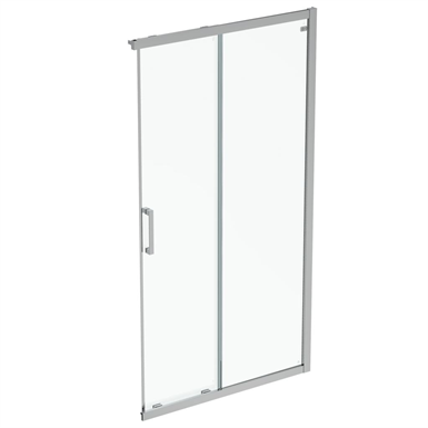 connect 2  unhand door 110 clear glass bright silver finish