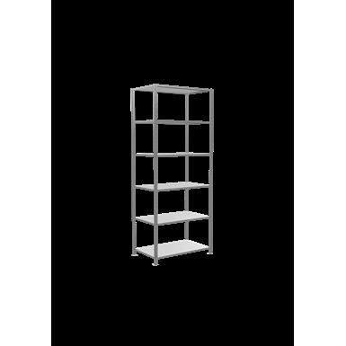 plug-in shelving system, starter shelving, multiplus150, 2600 x 1000 x 600 mm, 6 shelves, cross brace, galvanized