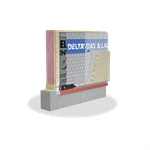 delta®-dry & lath ventilated rainscreen with pre-installed glass lath for absorptive claddings