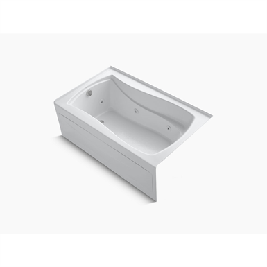 """k-1239-hl-0 mariposa® 60"""" x 36"""" alcove whirlpool with integral apron, integral flange, left-hand drain and heater"""