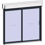 sliding window 2 rails 2 leaves with shutter