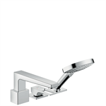 Metropol 3-hole rim mounted single lever bath mixer with loop handle and Secuflex 74550000