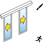 automatic sliding door (slim frame) - bi-parting - no side panels - on wall - sl/psa