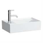 KARTELL BY LAUFEN Small washbasin, tap bank left, with concealed outlet