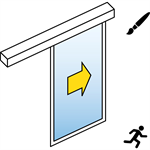 automatic sliding door (slim frame) - single - no side panels -on wall - sl/psa