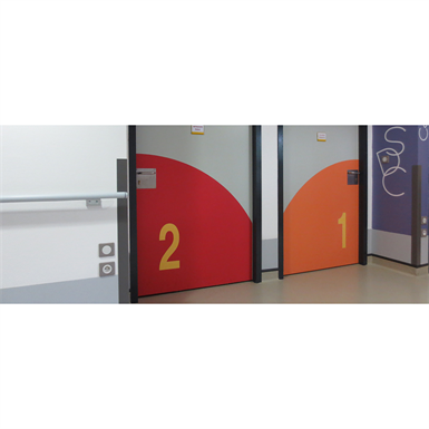half-height inlayed signage numbers
