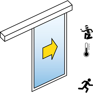 Automatic Sliding Door  (Energy-Efficiency RC2/RC3) - Single - No side panels - On wall - SL/PST-RC