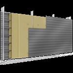 doppelte aussenfassade aus stahl verlegung h perforierte platten abstandhalter mit 3 dämmflächen