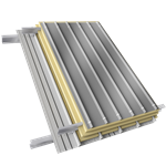 steel double skin roofing parallel to inside tray with purlin