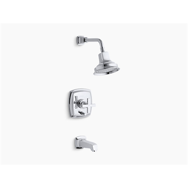 margaux® rite-temp® pressure-balancing bath and shower faucet trim with push-button diverter and cross handle, valve not included