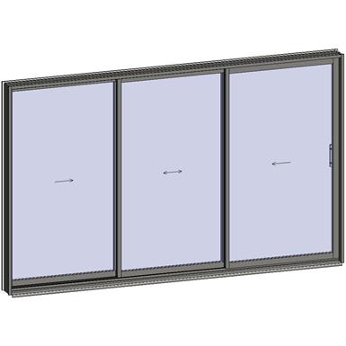 sliding window 3 rails 3 leaves