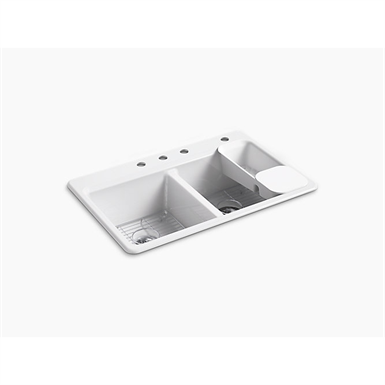 """riverby® 33"""" x 22"""" x 9-5/8"""" top-mount double-equal kitchen sink with accessories and 4 faucet holes"""