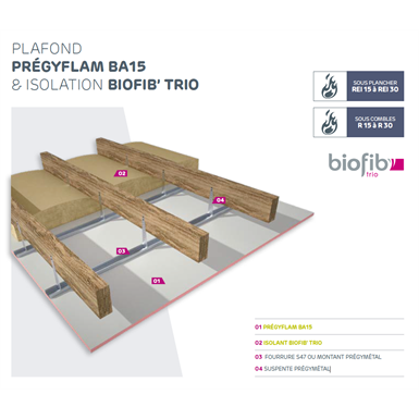 fireproof and acoustic ceiling - siniat prégymétal with bio-sourced insulation biofib