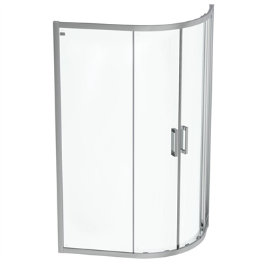 connect 2 offset quadrant 120x80 clear glass bright silver finish