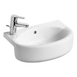 concept space 50cm arc short projection semi-countertop washbasin, 1 lh taphole