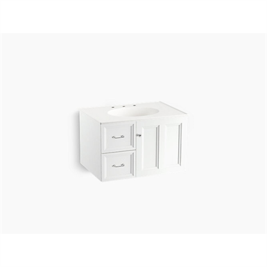 """Damask® 30"""" wall-hung bathroom vanity cabinet with 1 door and 2 drawers on left"""