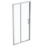 connect 2 slider door 100 clear glass bright silver finish
