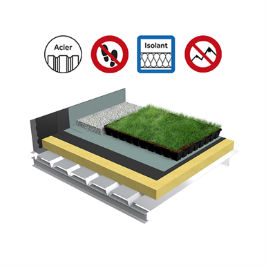 Systems for Green roof insulation solid steel