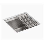 """8 degree™ 18"""" x 18"""" x 10-3/16"""" under-mount bar sink with bottom bowl sink rack and wine glass rack"""