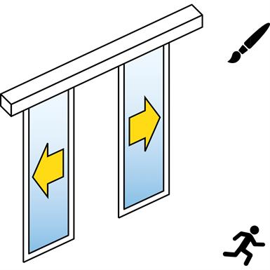 automatische schuifdeur (standard) - dubbele schuifdeuren - geen zijpanelen - aan de muur - sl / psxp