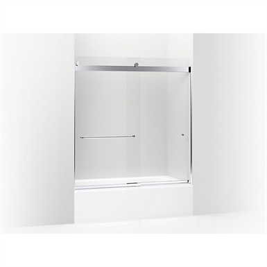 "levity™ sliding bath door, 62"" h x 56-5/8 - 59-5/8"" w, with 5/16"" thick crystal clear glass and towel bars"