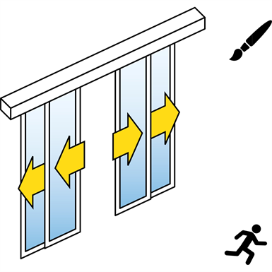 automatische schuifdeur (slank kader) - four leaf telescopische - geen zijpanelen - aan de muur - sl / psa