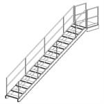 Fixed Aluminum Industrial Stairway With Platform At Top