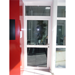 aluminium single fire door - with transom and sidelight