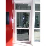 porte vitrée coupe-feu aluminium - 1 vantail avec imposte et dos à dos