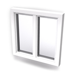Intakt inward opening window 2+1 glass 2-light whitout mullion