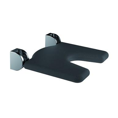Inox Care Siège de douche rabattable avec découpe ergonomique 450x450 assise coloris noir