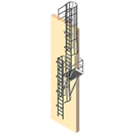 Fixed Aluminum Ladder w/ Cage And Rest Platform