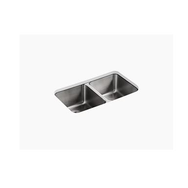 "undertone® 31-1/2"" x 18"" x 9-3/4"" undermount double-equal bowl kitchen sink"