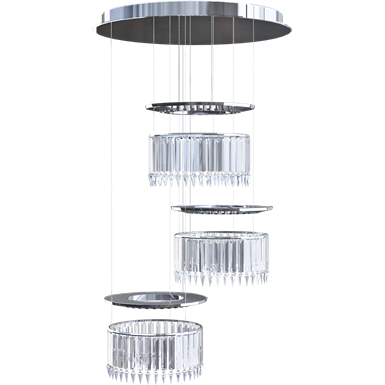 Lady Crinoline Comète lustre LED 3 modules