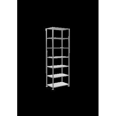 plug-in shelving system, starter shelving, multiplus150, 3000 x 1000 x 600 mm, 7 shelves, cross brace, galvanized