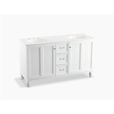 "Damask® 60"" bathroom vanity cabinet with furniture legs, 2 doors and 3 drawers"