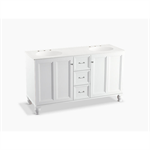 """damask® 60"""" bathroom vanity cabinet with furniture legs, 2 doors and 3 drawers"""