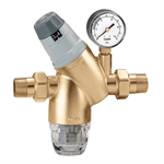 Pressure reducing valve with self-contained replaceable cartridge. With pressure gauge or pressure gauge connection