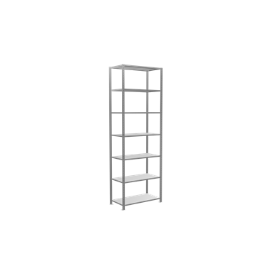 fachbodenregal stecksystem, grundregal, multiplus150, 3000 x 1000 x 500 mm, 7 fachböden, kreuzstrebe, verzinkt