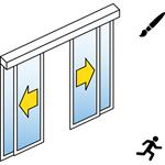 Automatische Schuifdeur (dun lijst) - Dubbele schuifdeuren - met zijpanelen - Opbouw - SL / PSA
