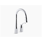 "k-649 simplice® two-hole kitchen sink faucet with 14-3/4"" pull-down swing spout, docknetik® magnetic docking system, and a 3-function sprayhead featuring sweep™ spray"