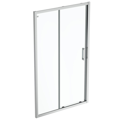 connect 2 slider door 120 clear glass bright silver finish