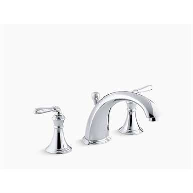 "devonshire® deck-/rim-mount bath faucet trim for high-flow valve with 8-15/16"" diverter spout and lever handles, valve not included"