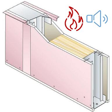 cloison prégymétal d72/48-35 protection incendie avec isolant - ei60 - 39db siniat