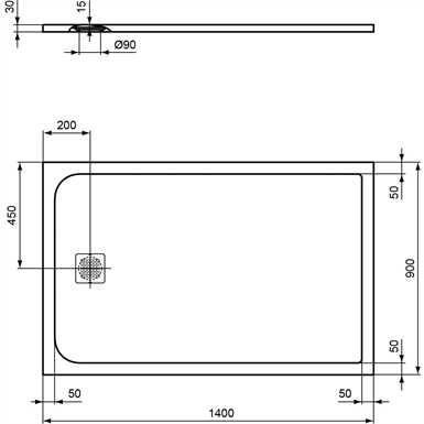 ultraflt s s/tray 140x90 bc sand rect