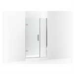 """composed® frameless pivot shower door, 71-9/16"""" h x 39-5/8 - 40-3/8"""" w, with 3/8"""" thick crystal clear glass"""