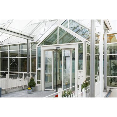 folding door, fft flexgreen corridor mount with transom biparting wall-hosted