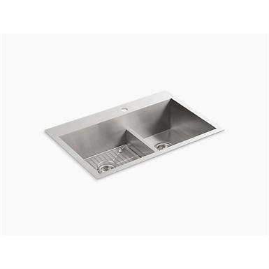"vault™ 33"" x 22"" x 9-5/16"" smart divide® top-/under-mount large/medium double-bowl kitchen sink with single faucet hole"