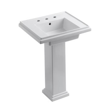 """K-2844-8 Tresham™ 24"""" Pedestal Lavatory With 8"""" Widespread Faucet Drilling"""
