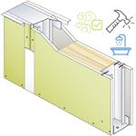 drywall pregymetal 72mm - anti-voc & moisture resistant - ei30 - 43db - siniat